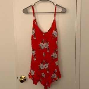 Don't Ask Why (American Eagle) red floral romper